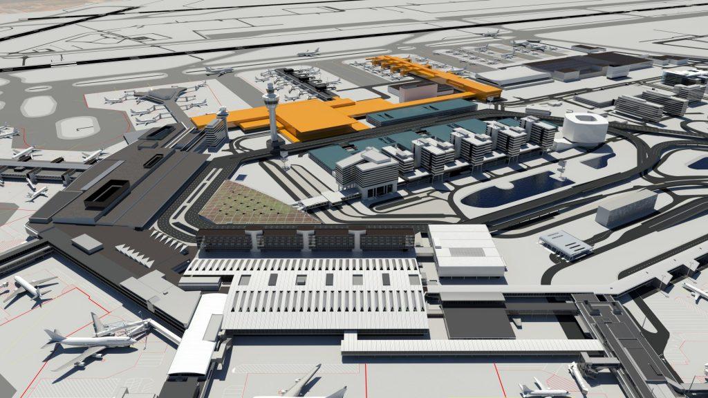 Een van de ontwerpen voor de uitbreiding van Schiphol in 2019 en 2023.