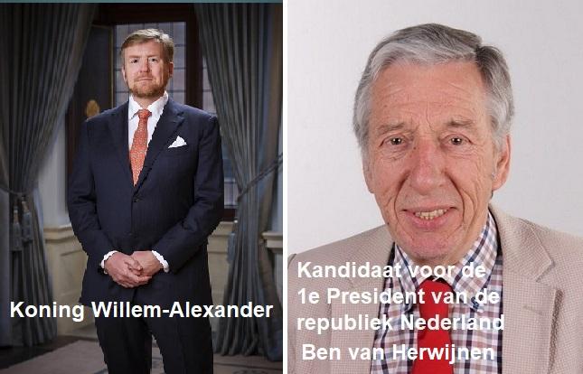 Koning Willem Alexander versus de kandidaat President van de republiek.