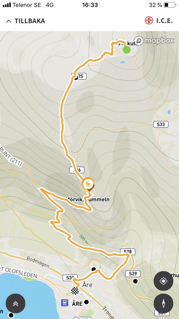 Karta över vår vandring ner från Åreskutans led 214, från appen Åre Trails.