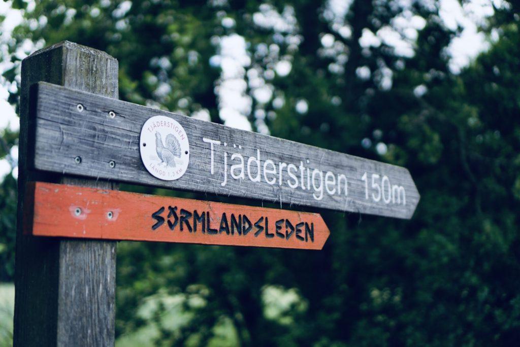 Skylt till Tjäderstigen i Tyresta nationalpark.