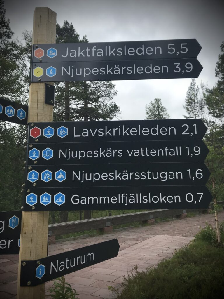 Skyltar mot Njupeskär i Fulufjällets nationalpark.