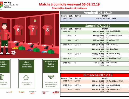 Matchs à domicile weekend du 06 au 08/12/19