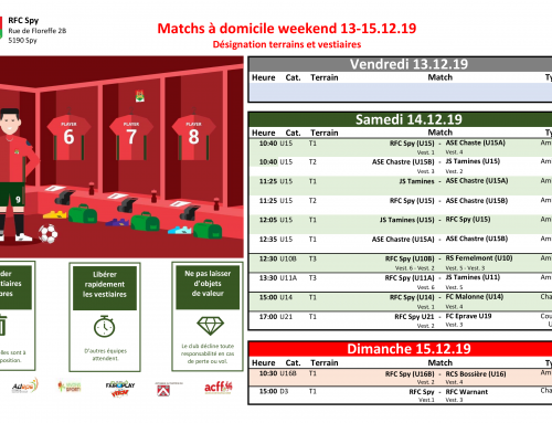 Matchs du weekend du 13-15/12/19