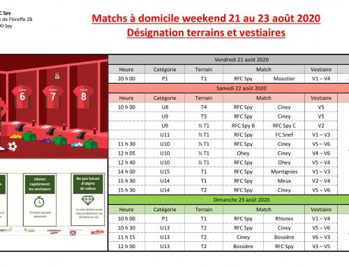 Programme des matchs à domicile – weekend du 21 au 23/08/20