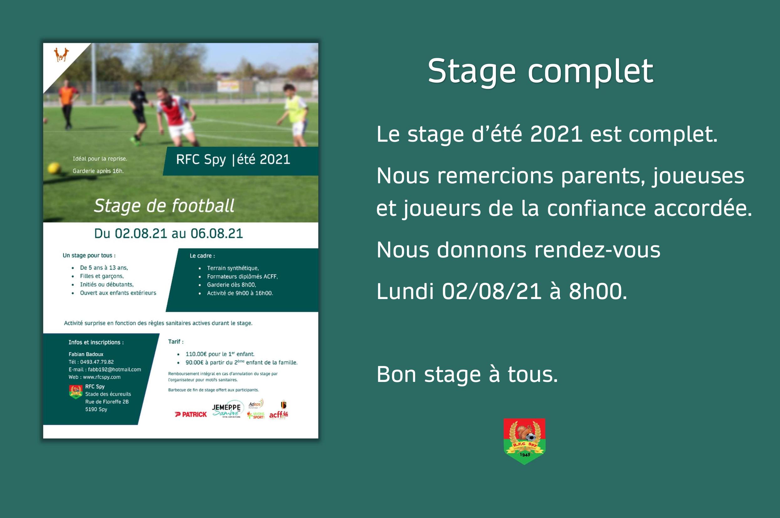Stage d'été 2021 affiche complet