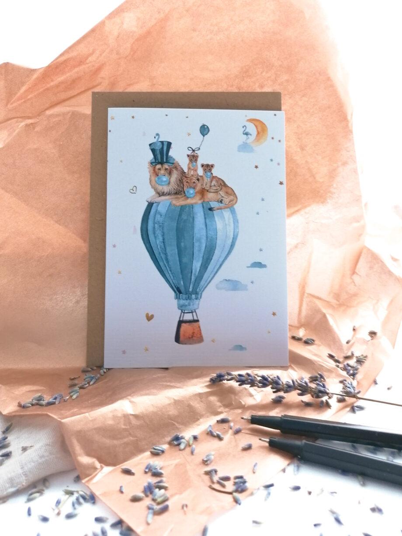 Kaart blauwe luchtballon - Fleur des Fleurs