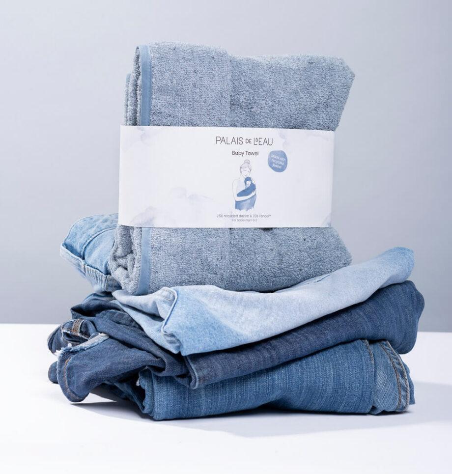 Babyhanddoek blauw denim