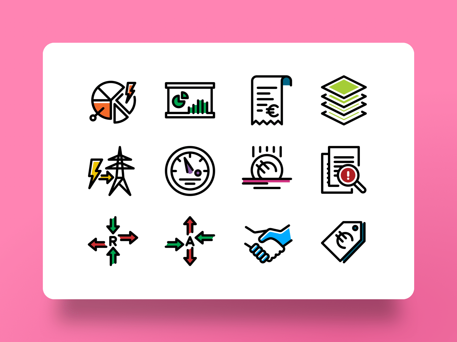 Icon designs, created for Atrias, showing different business concepts for the energy market.