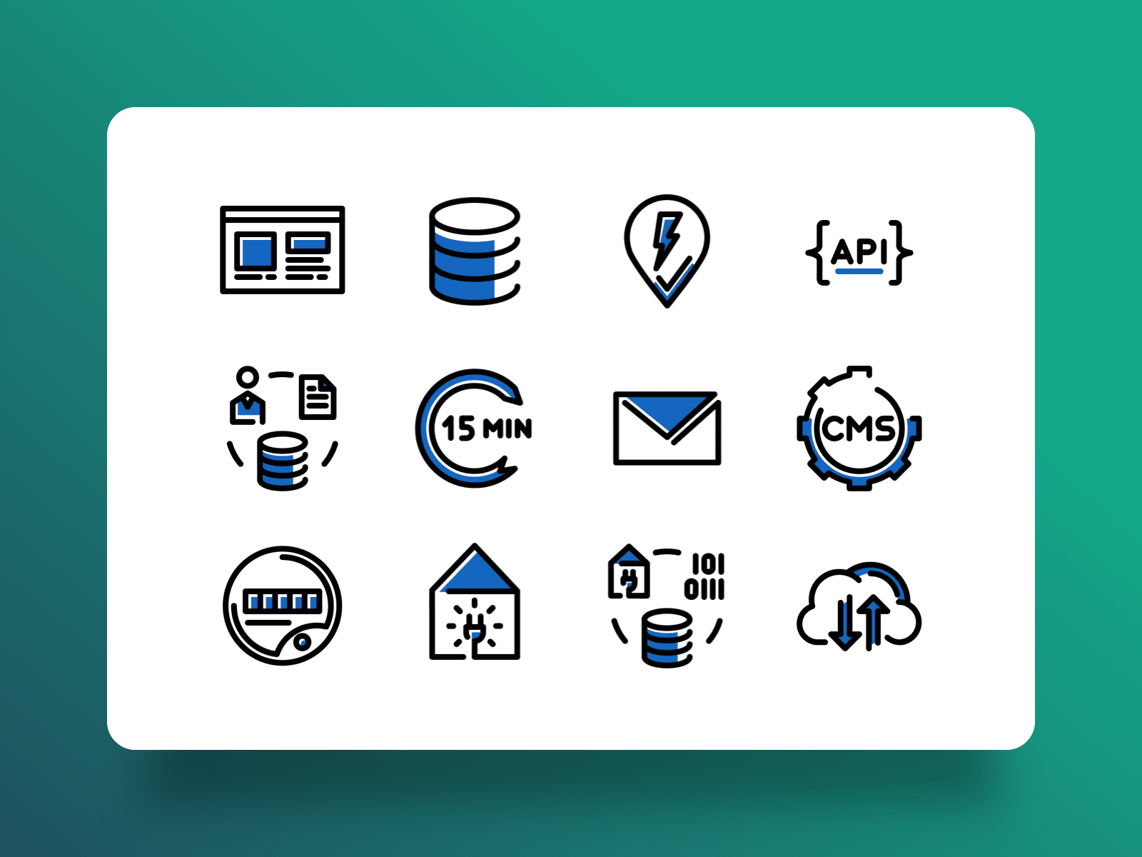 Icon designs, created for Atrias, showing different technical concepts for the energy market.