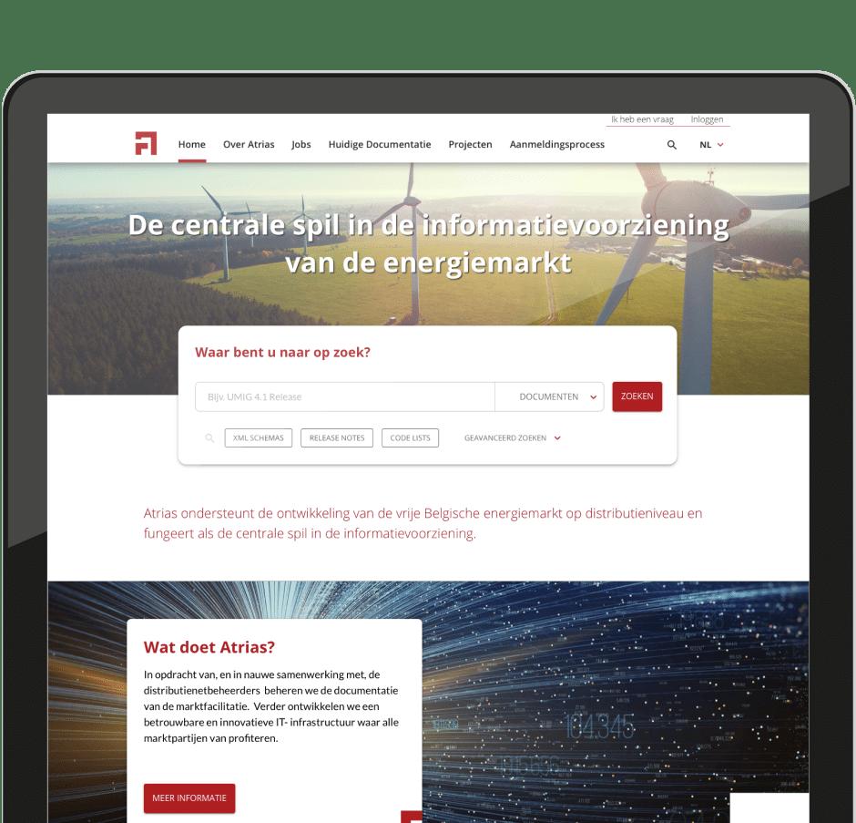 A screenshot of the Atrias website