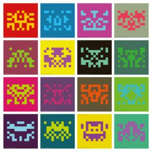 Hourly invasions, different space invaders automatically generated and posted online