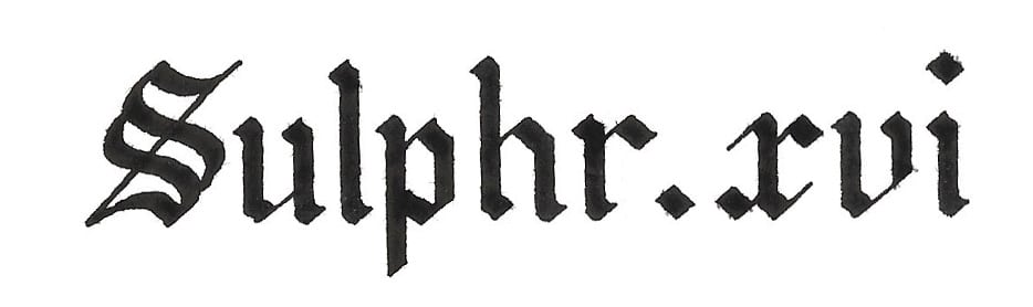 The word Sulphr XVI, written in calligraphy