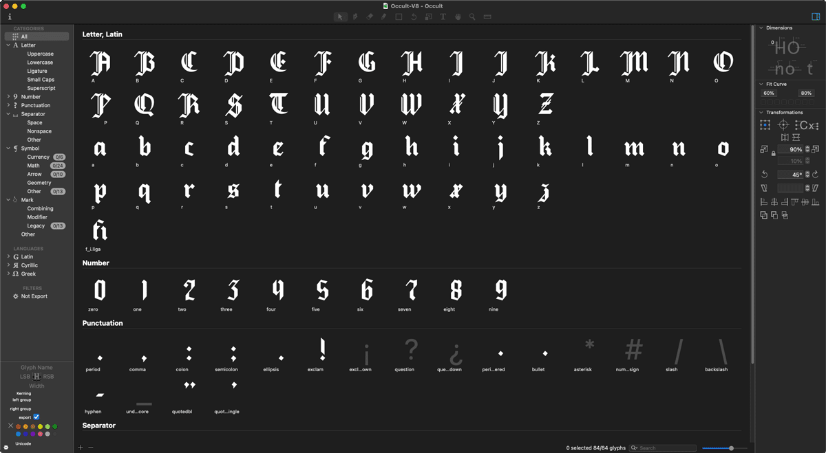 A screenshot of Glyphs software, displaying the Occult typeface