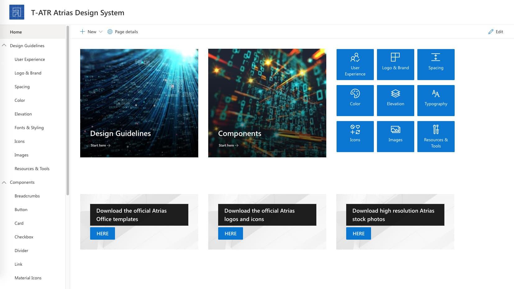 A screenshot of the Atrias Design System on SharePoint