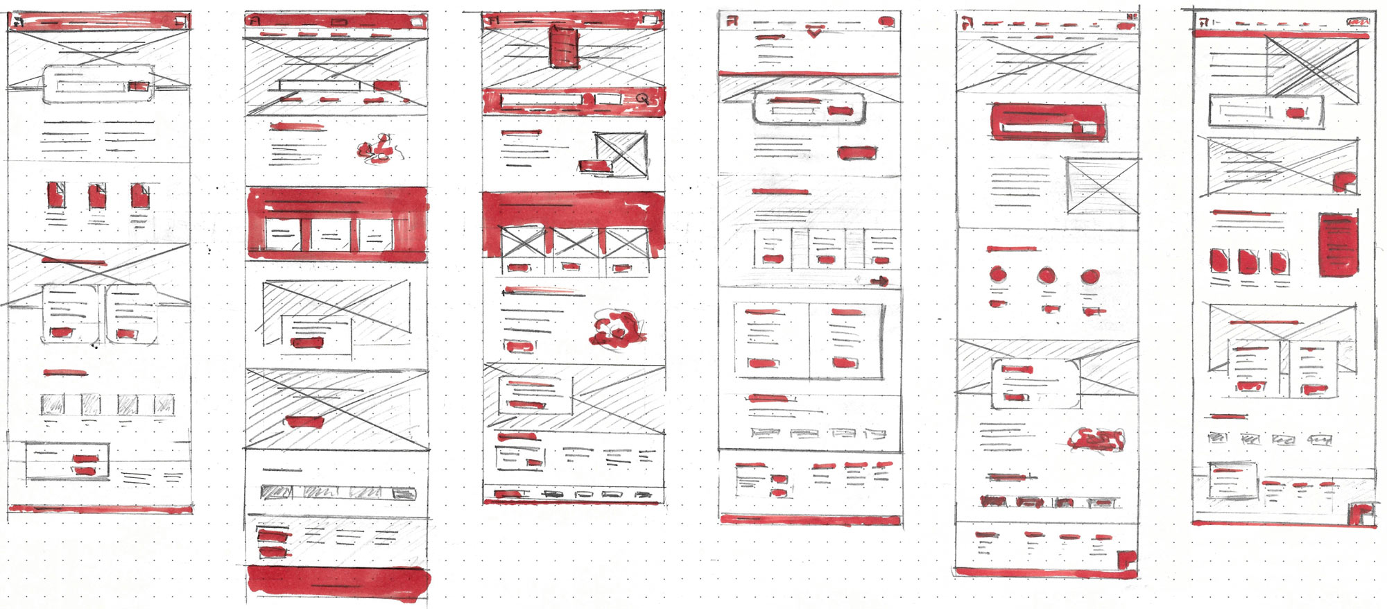 Sketches of the website layout and color, on paper