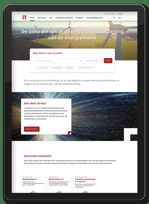 The Atrias website, on an ipad