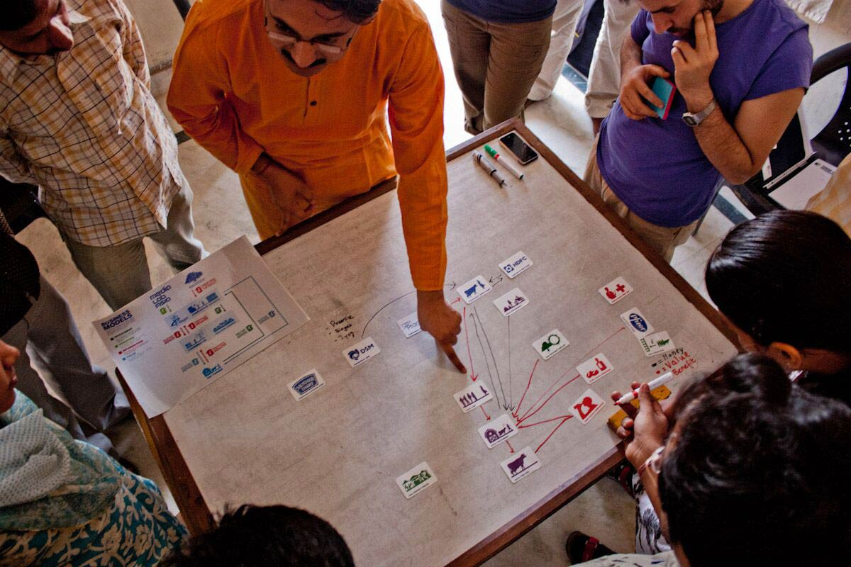 Photo of a business model workshop with stakeholders in rural India