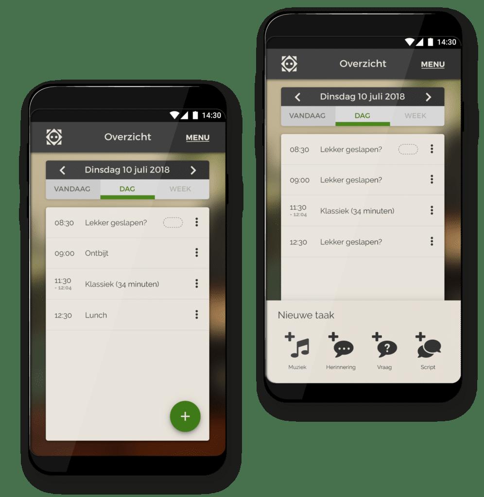 Screenshots of the main screens of Tessa's app: the calendar.