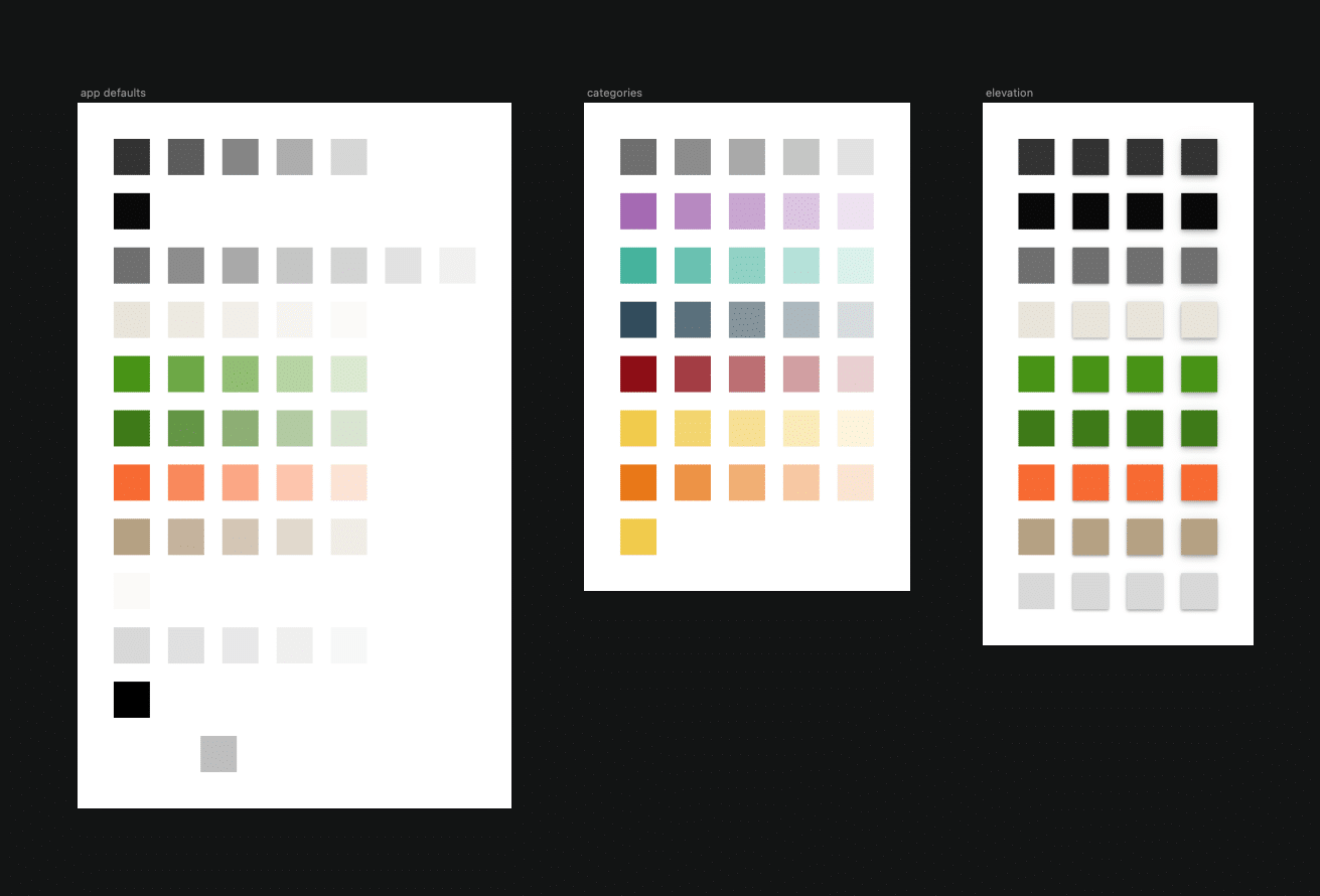 Color palette from the Tinybots design system