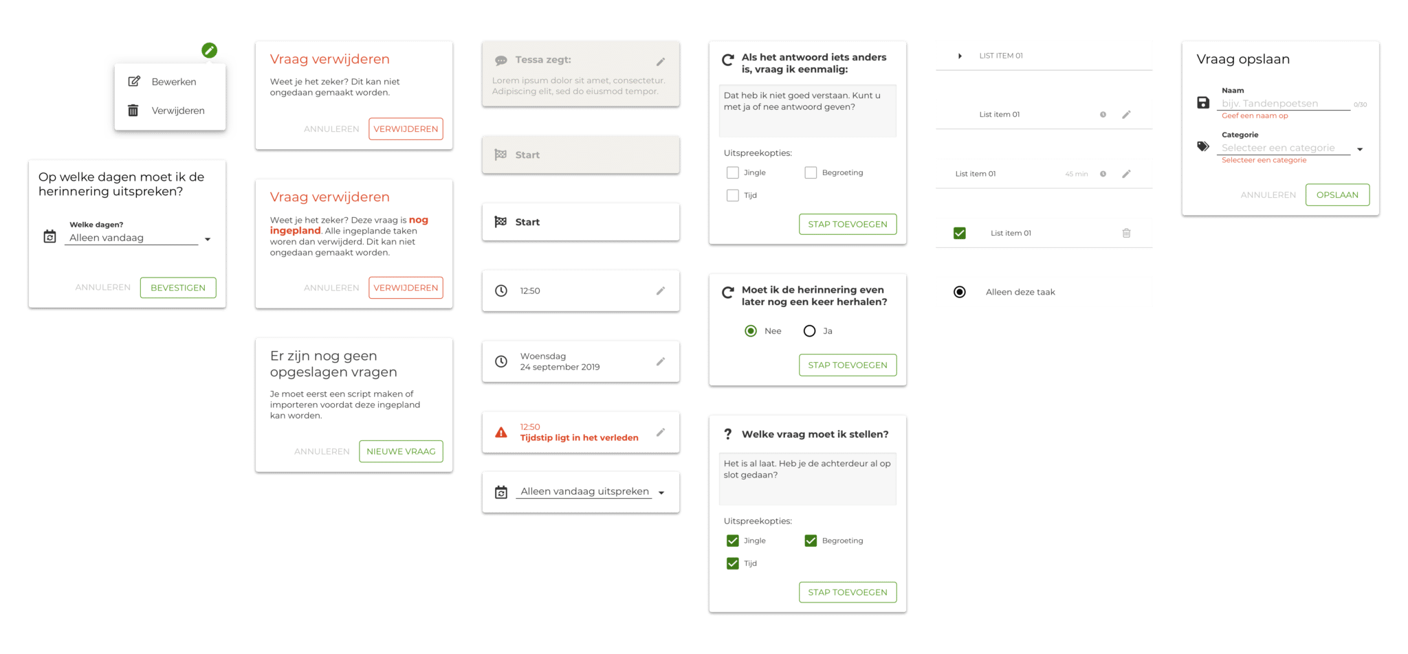 Components from the Tinybots design system