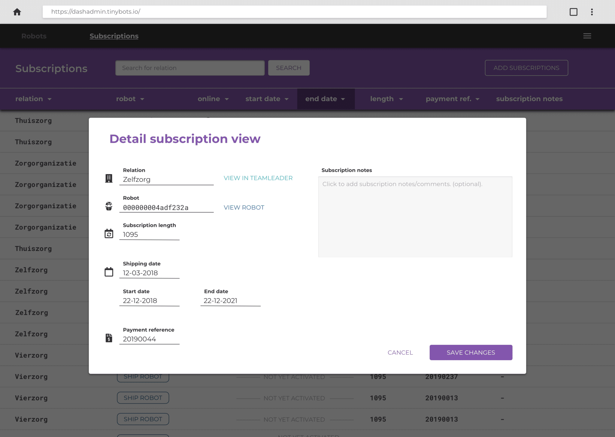 Screenshot of an administrative dashboard. The modal popup shows information regarding a subscription