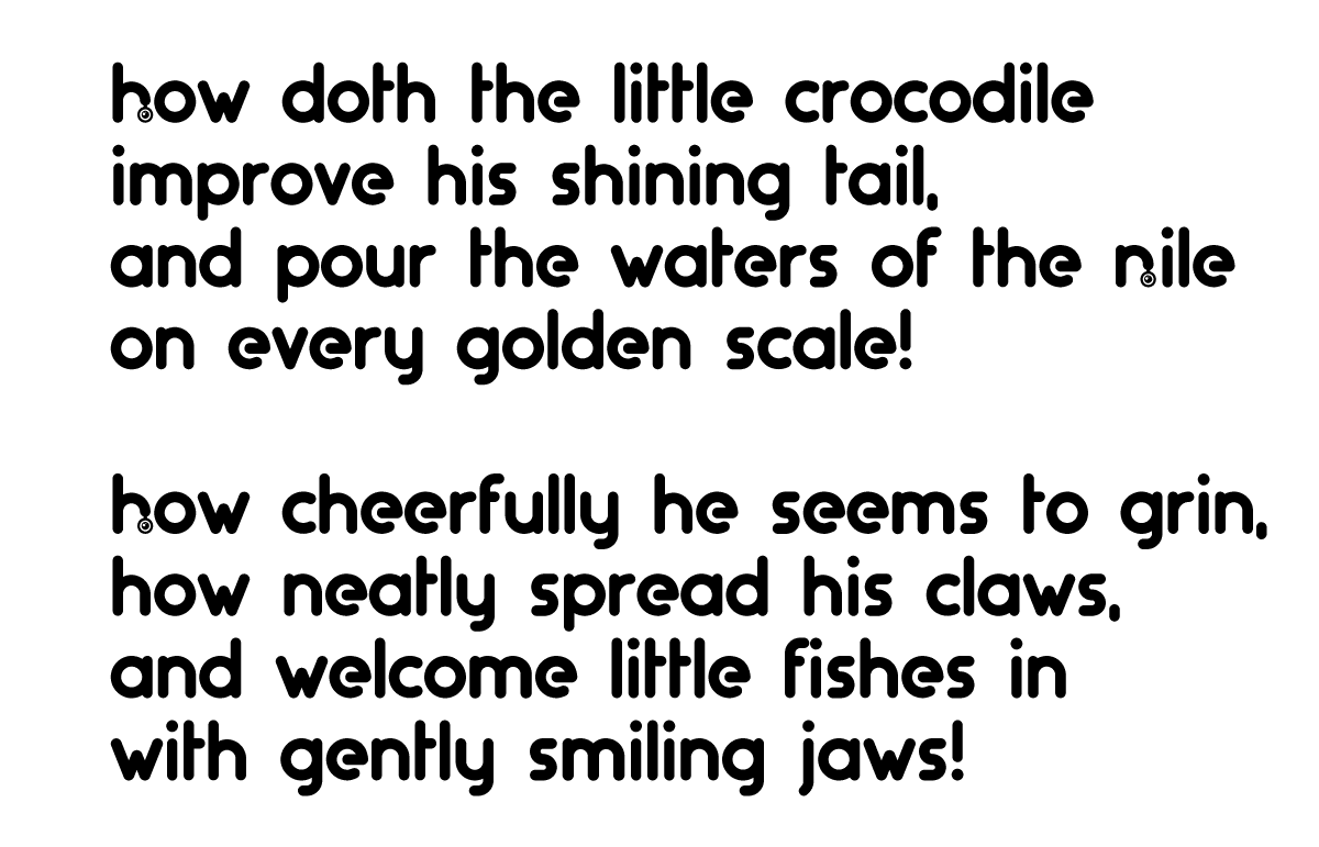 A poem by Lewis Carroll, written in the artificers typeface