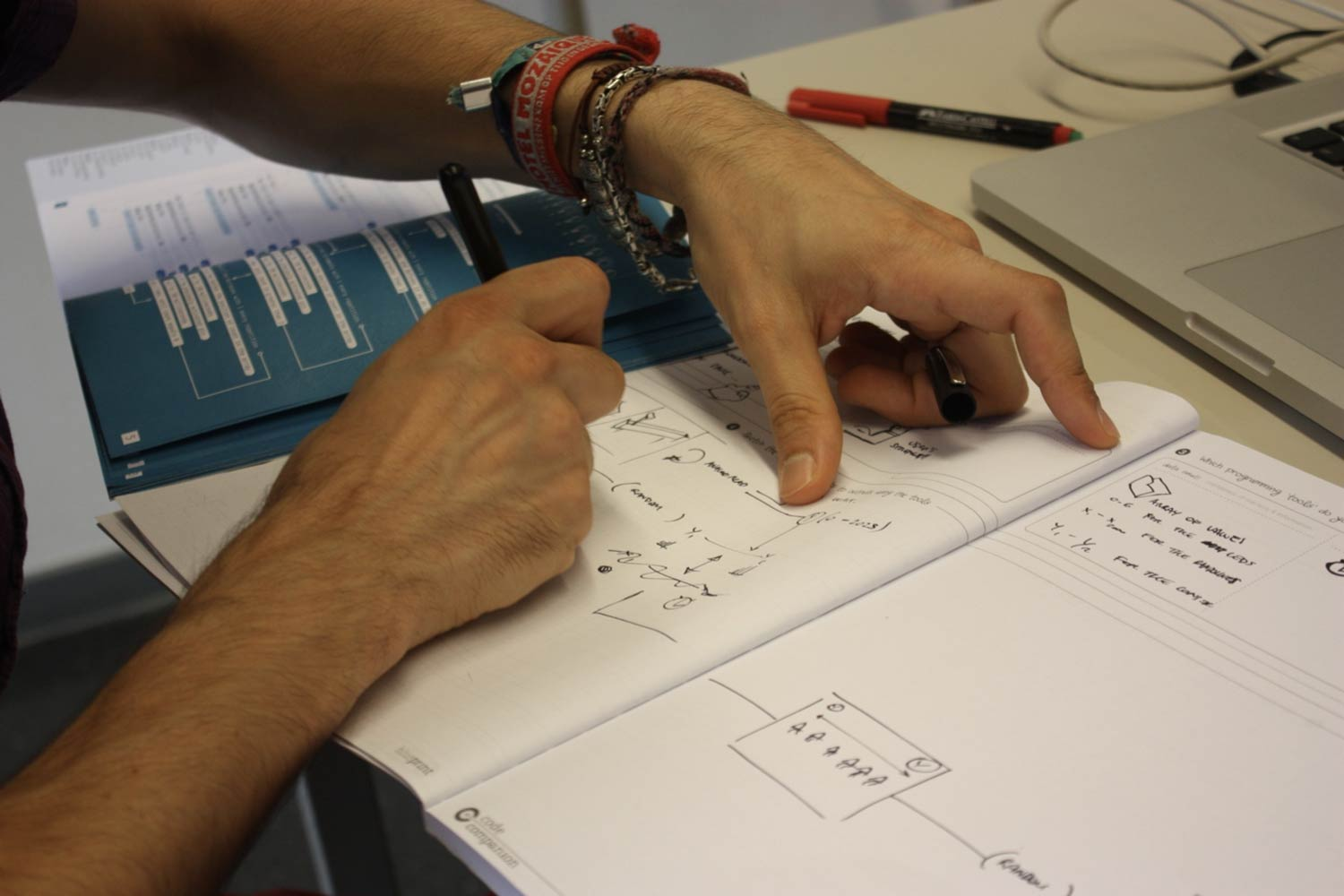 A designer using the Blueprint and Pattern Dictionary