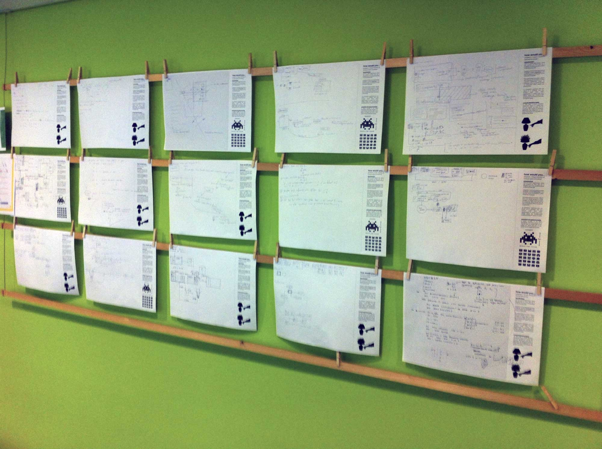 Research results of paper programming, hanged on a wall