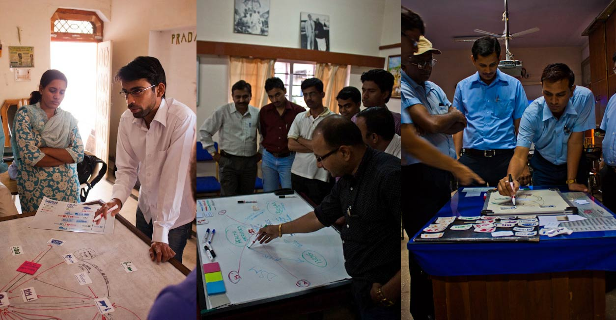 More photos of business model workshops in rural India. People drawing on whiteboards to map out potential business models.
