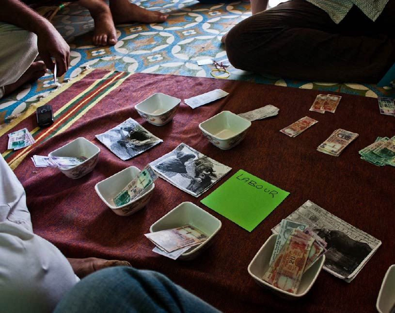 Photo of a workshop to identify farmer's spending patterns, taken in rural India