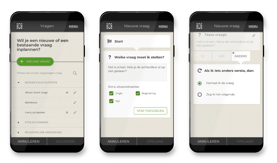 Screenshots of the Tinybots app, showing the script planner interface