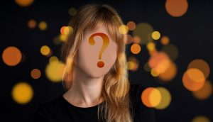 woman with a question mark instead of face