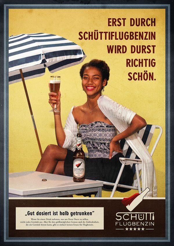Poster »Schüttiflugbenzin – Erst duch Schüttiflugbenzin wird Durst richtig schön.«