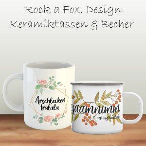 Keramiktassen und Emaillebecher