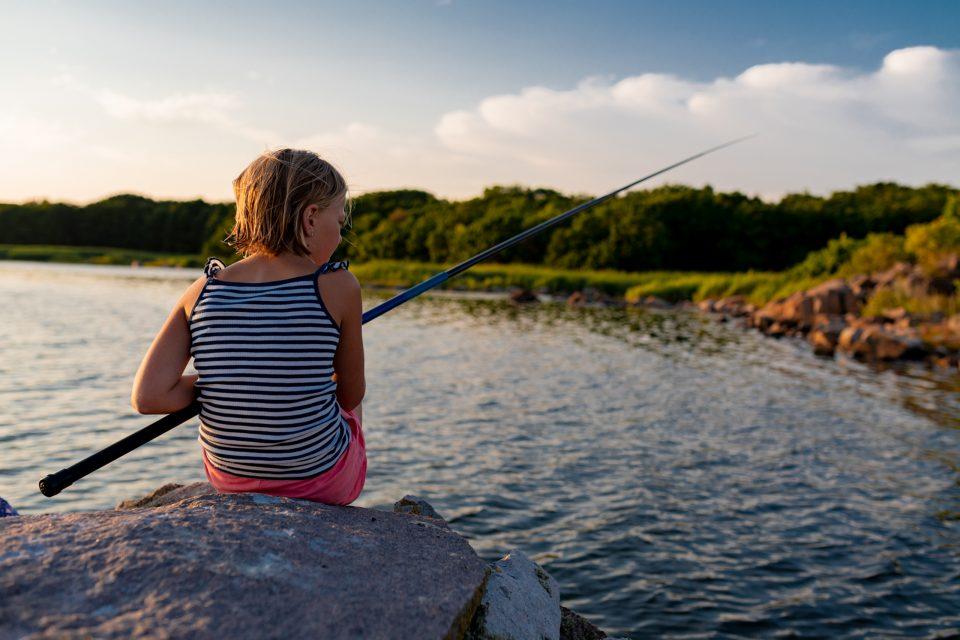 Fishing, Summer, Evening, Summer evening, Blue Sky, Girl