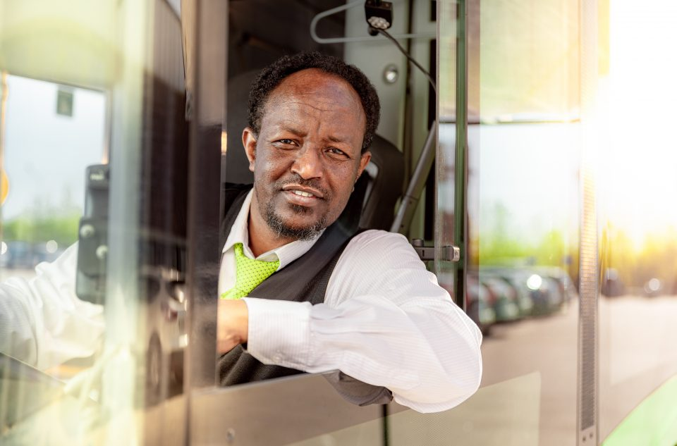 Bus driver, Nobina, Portrait, At Work, Driver, Sunshine, Morning