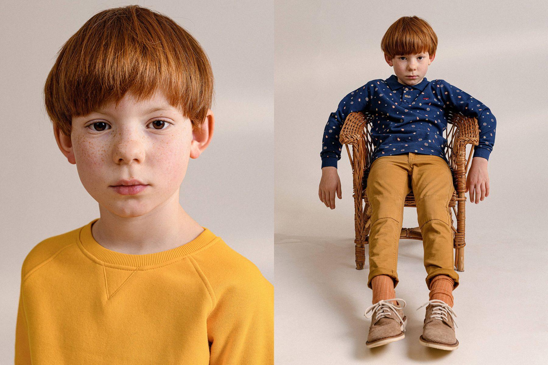 Kids in studio, portrait, sitting on a stool.