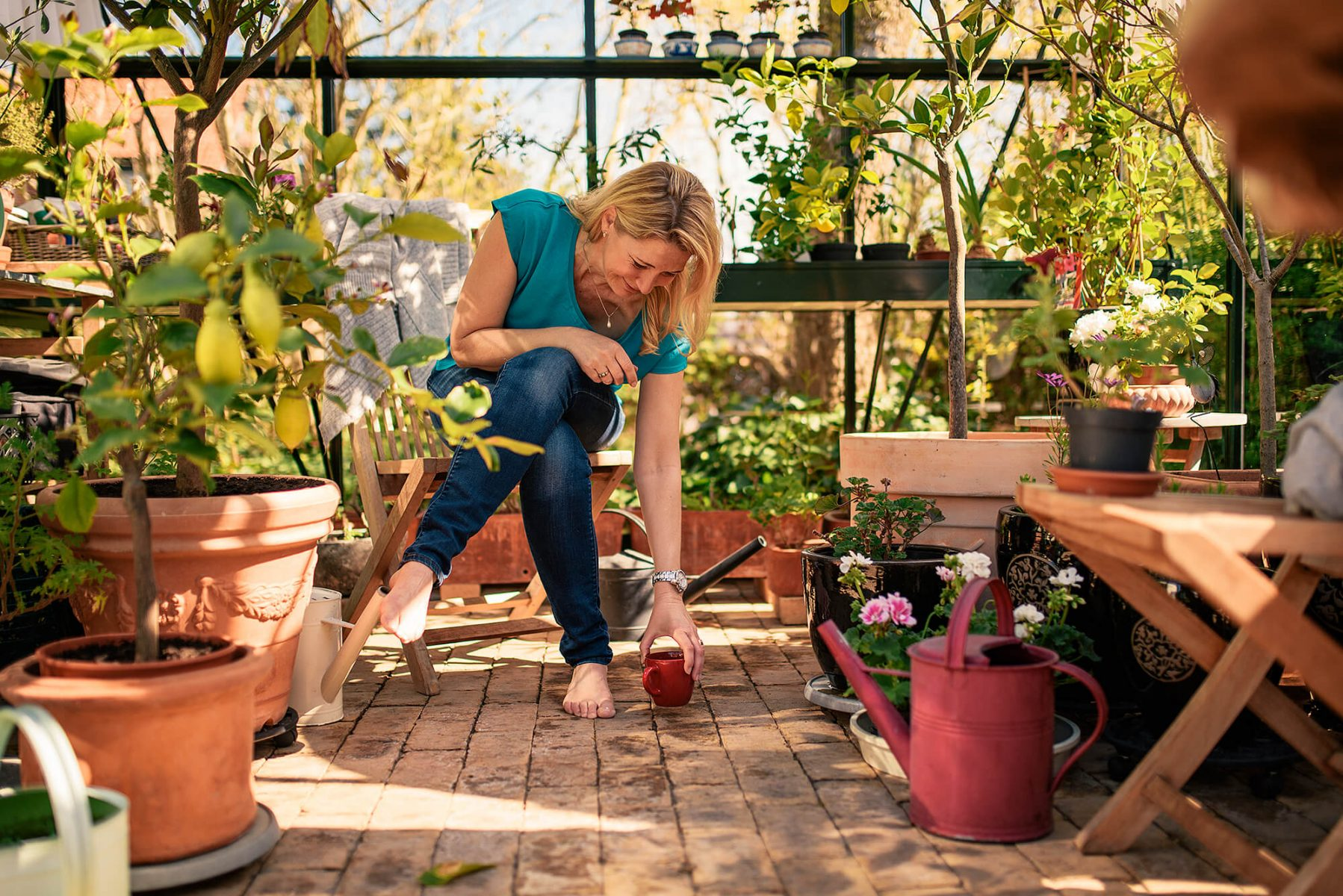Woman enjoying a good coffee in her orangery. Lovely summer light. Colorful and lots of flowers.