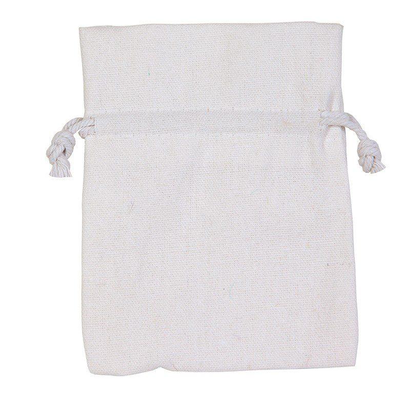 en vacker vi presentpåse i vitt gjord av bomull.