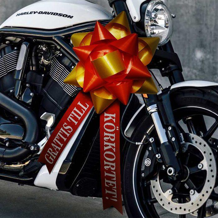 En stor BigStarRosett som sitter på en häftig motorcykel