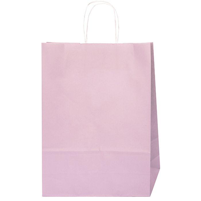 Vacker rosa papperspåse med tvinnade pappersband som handtag