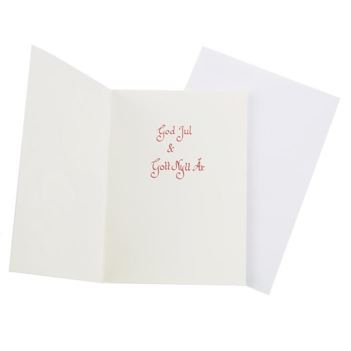Insidan av ett dubbelt julkort med text God Jul & Gott Nytt År