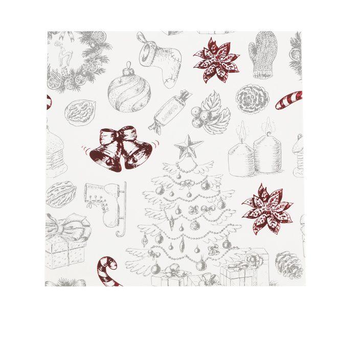 Ett vitt julkort med olika julsaker i grått och metallicrött