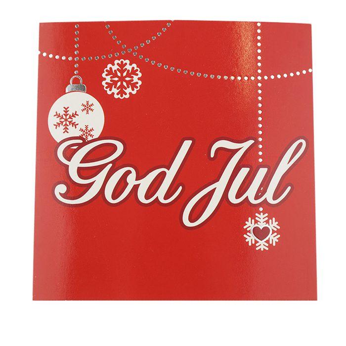 Ett rött julkort med text God Jul i vitt