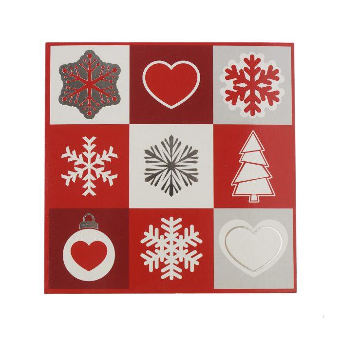 Julkort med fyrkanter och olika julmotiv i vitt rött och silver