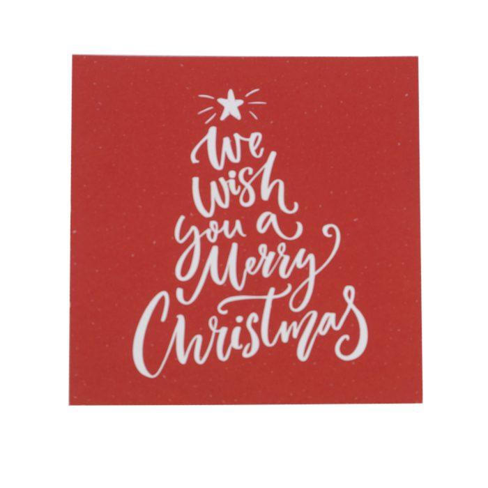 Julkort med text i vitt format som en julgran