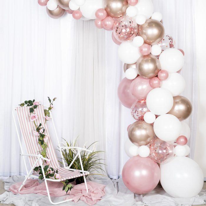 Ballong Arch rose gold En båge med rosa, rose guld och vita ballonger