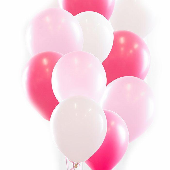 Ballongbukett rosa Ett fång med rosa och vita ballonger