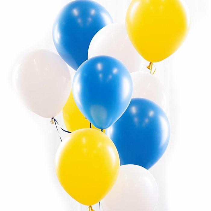 Ballongbukett Student Sverige, Ett fång med gula, blå och vita ballonger