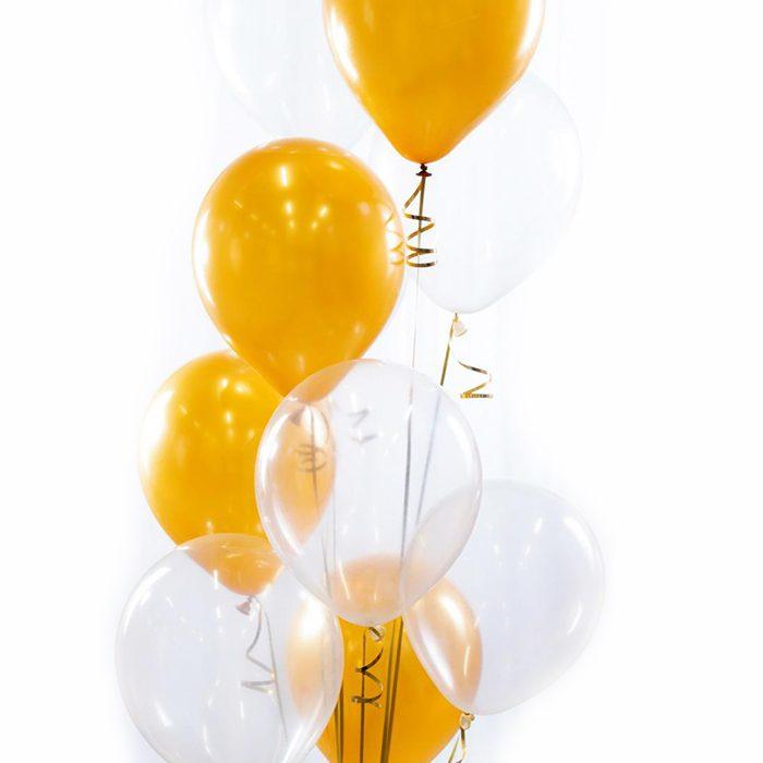 Ballongbukett Skål Champange Ett fång av ballonger i champangegult, vitt och genomkinligt